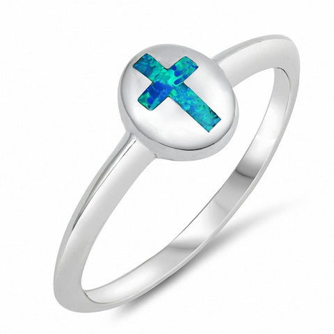 Cross Ring Created Opal 925 Sterling Silver Choose Color