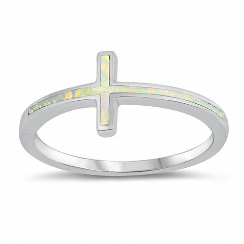 Sideways Cross Ring Created Blue Opal 925 Sterling Silver Choose Color