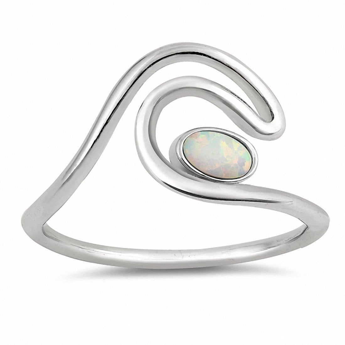 Wave Ring Oval Created Opal 925 Sterling Silver Choose Color