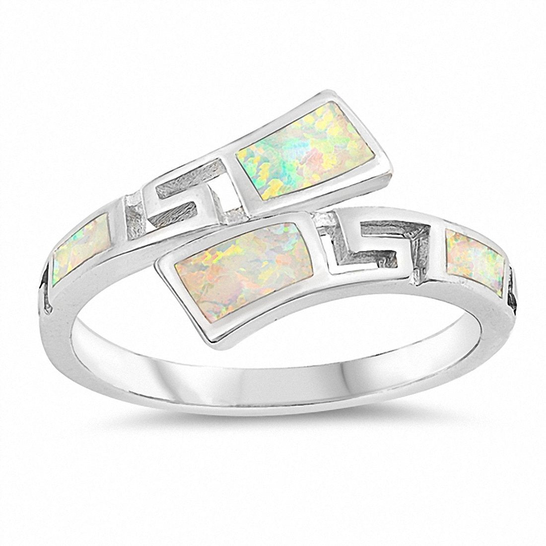Greek Key Band Ring Created Opal 925 Sterling Silver Choose Color
