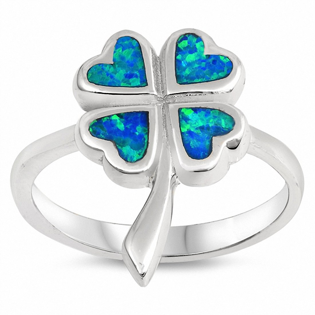 Clover Leaf Flower Ring Created Opal 925 Sterling Silver Choose Color