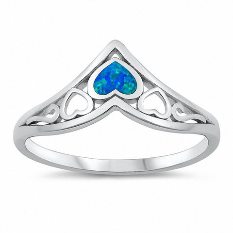 Chevron Midi V Ring Heart Created Opal Solid 925 Sterling Silver Choose Color