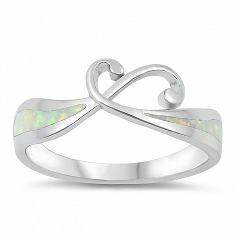 Swirl Ring Lab Created Opal 925 Sterling Silver Choose Color