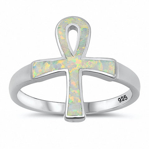 Ankh Ring Created Blue Opal Solid 925 Sterling Silver Choose Color