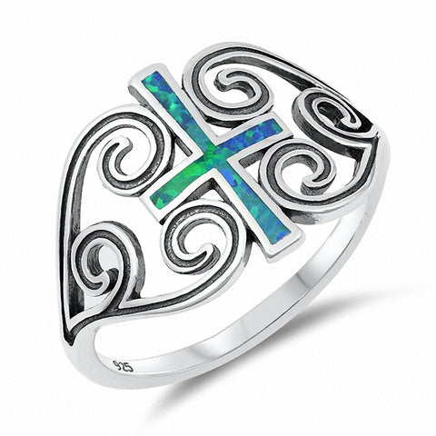 Filigree Swirl Cross Ring Created White Opal 925 Sterling Silver Choose Color