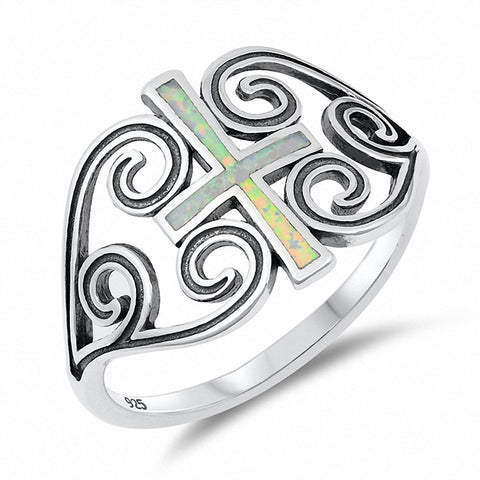 Filigree Swirl Cross Ring Created Opal 925 Sterling Silver Choose Color