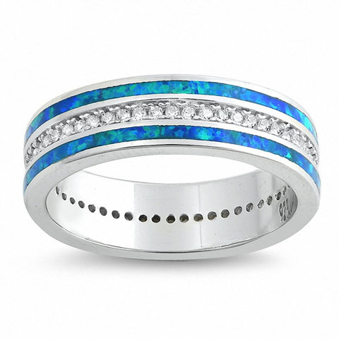 Eternity Style Band Ring Created Opal Round Cubic Zirconia 925 Sterling Silver Choose Color
