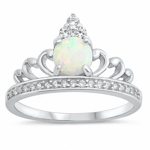 Half Eternity Crown Ring Created Opal Round Cubic Zirconia 925 Sterling Silver Choose Color