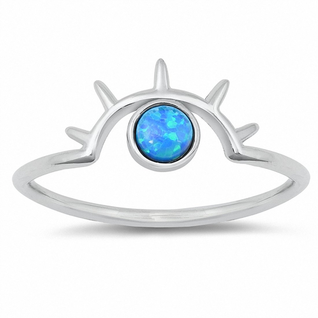 Eye Ring Round Created Opal 925 Sterling Silver Choose Color
