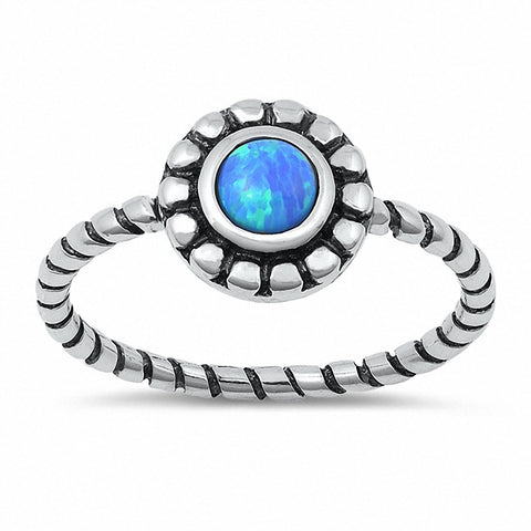 Braided Design Round Created Opal Ring 925 Sterling Silver Choose Color