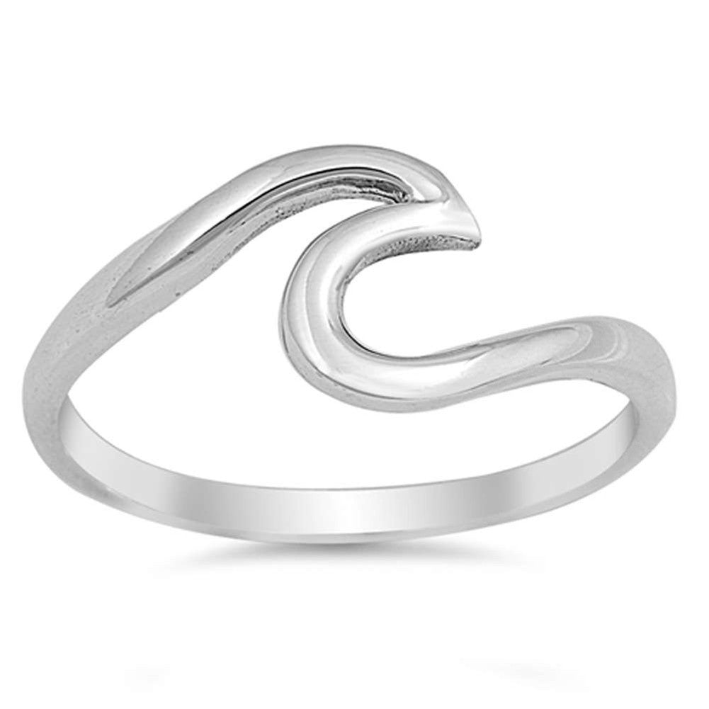 Wave Swirl Ring Round 925 Sterling Silver - Blue Apple Jewelry