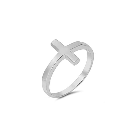 Sideways Cross Ring Band Simple Plain 925 Sterling Silver - Blue Apple Jewelry