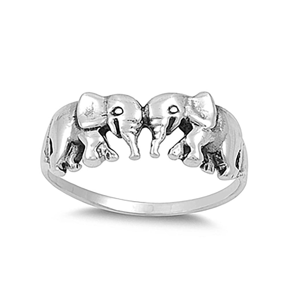 Lucky Elephant Plain Rings 925 Sterling Silver