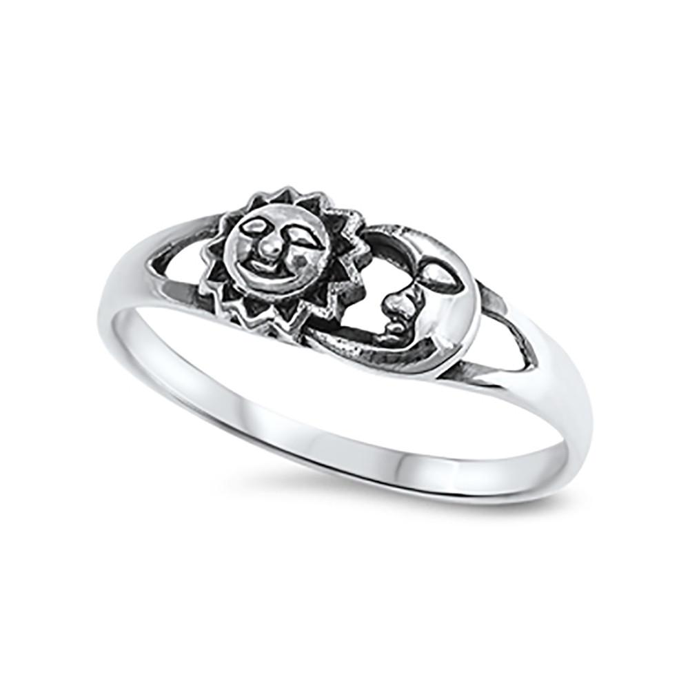 Sun and Moon Ring Solid 925 Sterling Silver Sun Moon Ring oxidized Antique Finish Sun & Moon Jewelry Ritual Gift Size 4-16