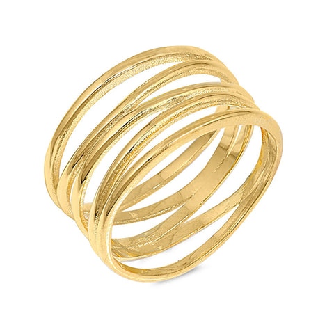 10mm Wire Wrapped Simple Plain Ring Band Yellow Gold Rhodium Plated 925 Sterling Silver - Blue Apple Jewelry