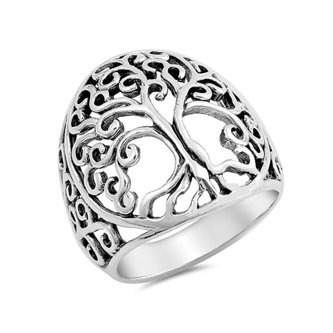 Swirl Filigree Design Tree of Life Band Ring 925 Sterling Silver - Blue Apple Jewelry