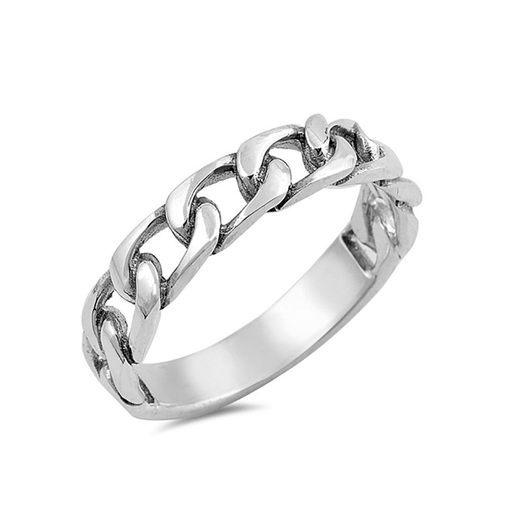 Chain Link Band Ring 925 Sterling Silver Unisex Men Women - Blue Apple Jewelry