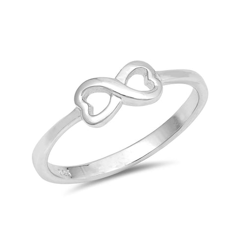 Petite Dainty Infinity Heart Ring Band 925 Sterling Silver