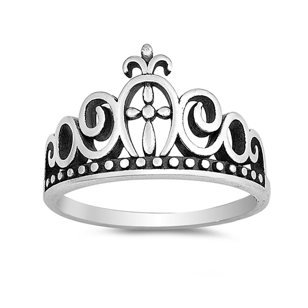 Filigree Design Crown Ring Band 925 Sterling Silver Crown Simple Plain - Blue Apple Jewelry
