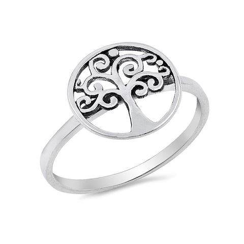 Round Tree of Life Ring Band 925 Sterling Silver - Blue Apple Jewelry