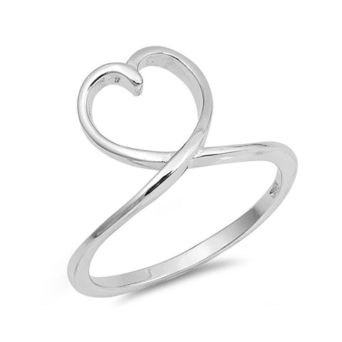 Heart Loop Ring Band 925 Sterling Silver Heart Ring Band Simple Plain - Blue Apple Jewelry