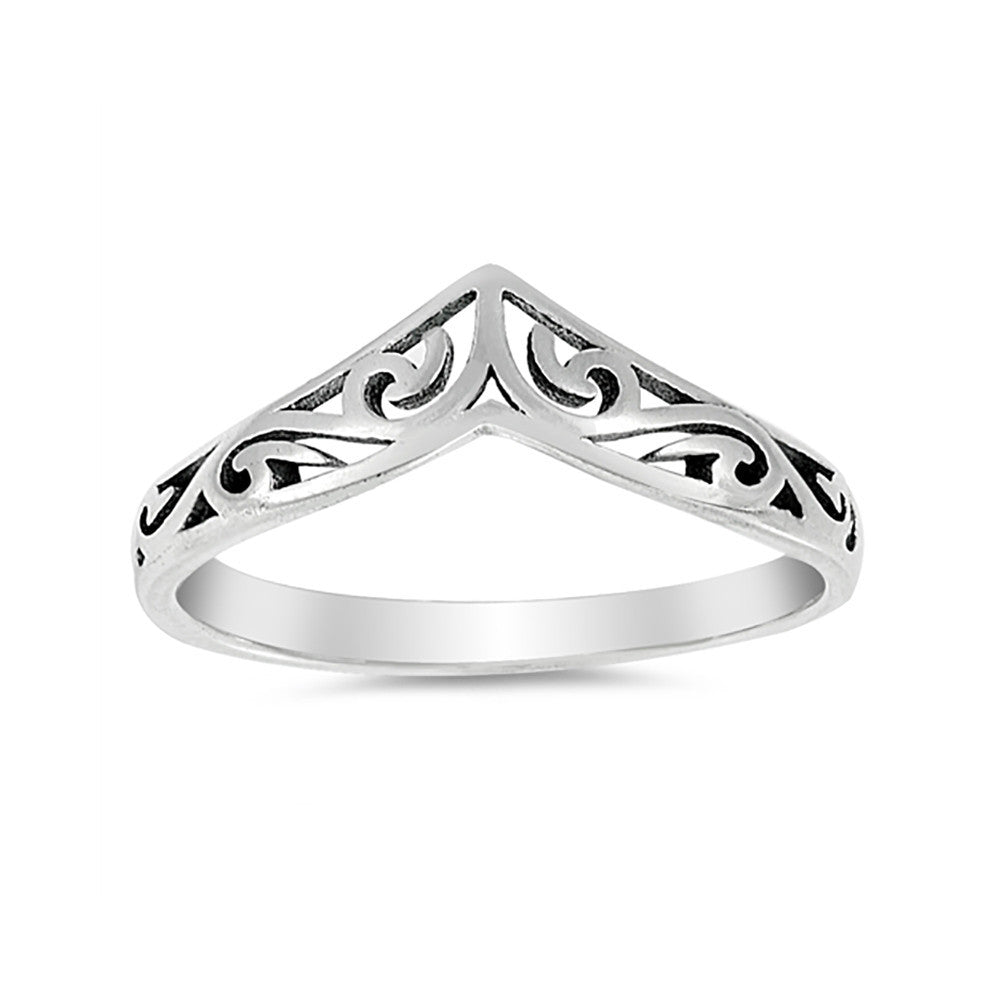 4mm Thumn Ring Band Chevron Midi Filigree 925 Sterling Silver Simple Plain - Blue Apple Jewelry