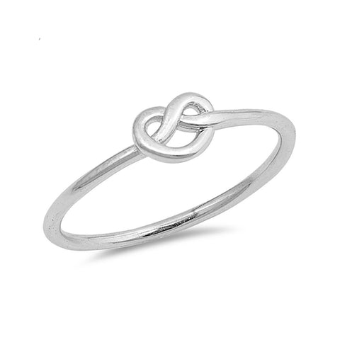 Mini Love Knot Heart Ring Band Tangled Knot 925 Sterling Silver