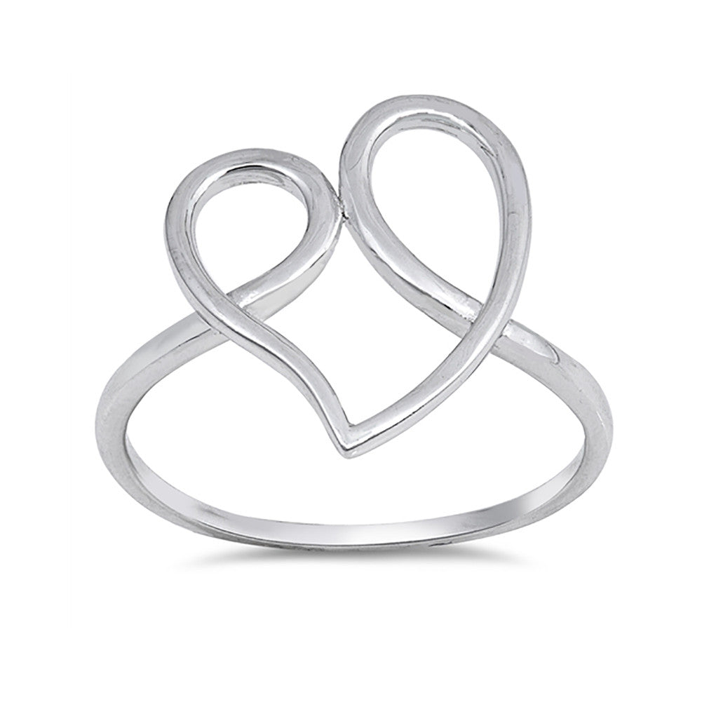 Swirl Heart Ring Band 925 Sterling Silver Curve Simple Plain - Blue Apple Jewelry
