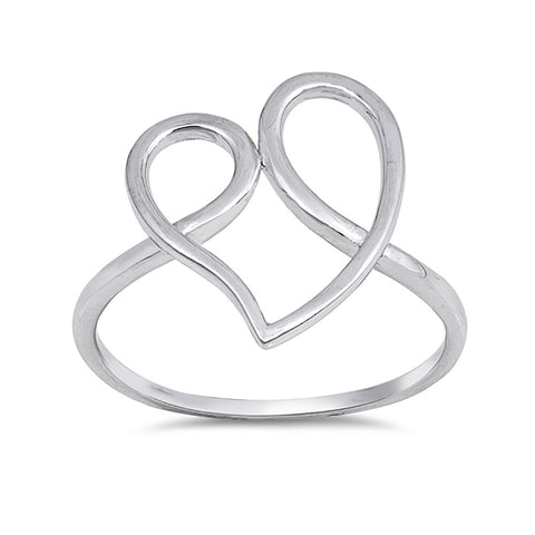 Swirl Heart Ring Band 925 Sterling Silver Curve Simple Plain