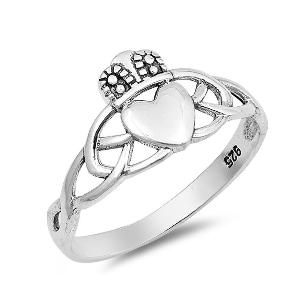 Celtic Claddagh Ring Band 925 Sterling Silver Irish Promise Ring Simple Plain - Blue Apple Jewelry