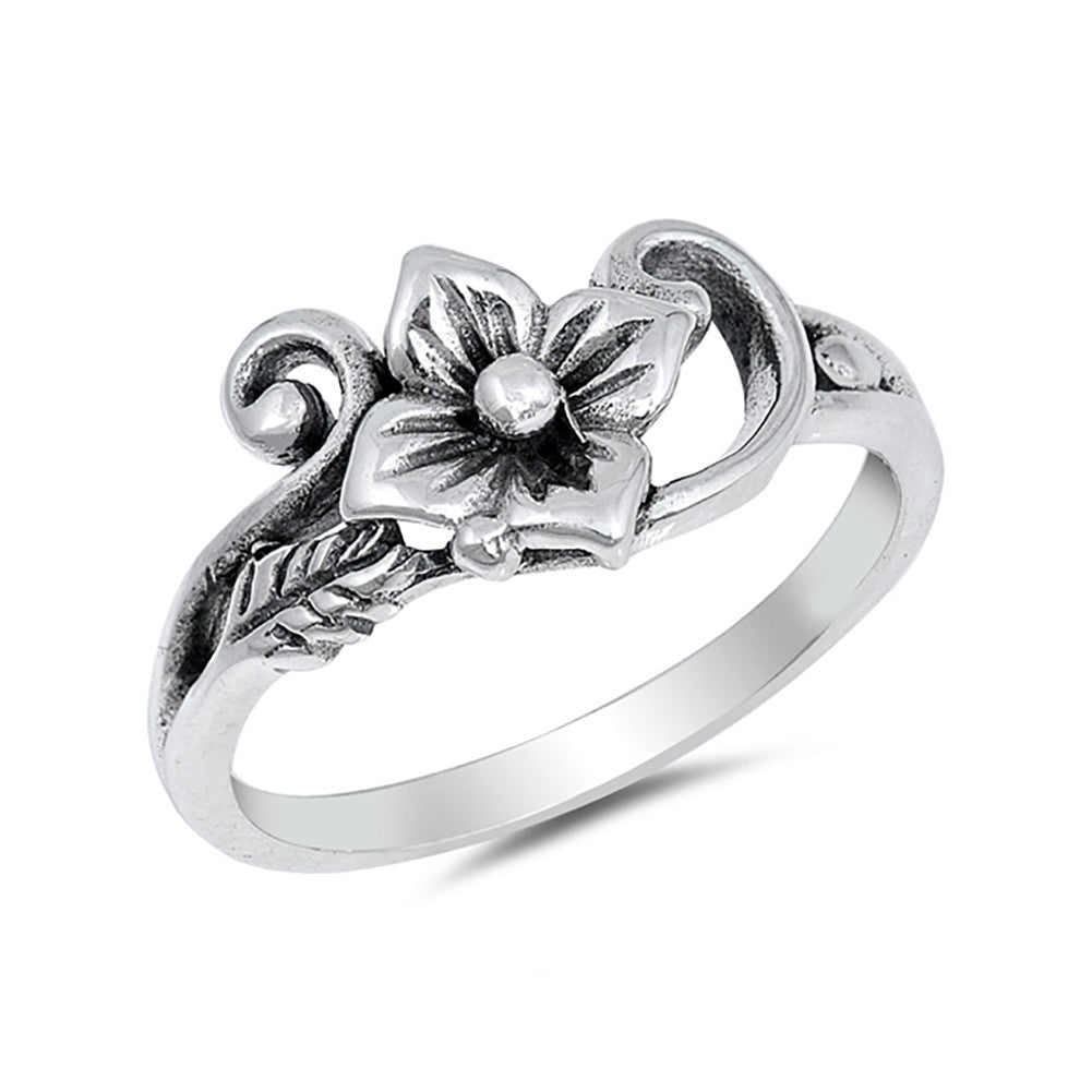 Flower Ring Band 925 Sterling Silver Simple Plain Fashion Flower Vine - Blue Apple Jewelry