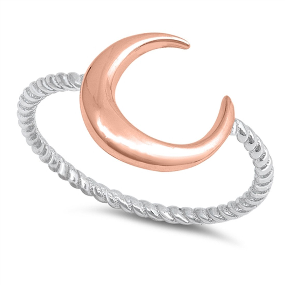 Moon Ring Braided Cable Band 925 Sterling Silver Simple Plain Crescent Moon
