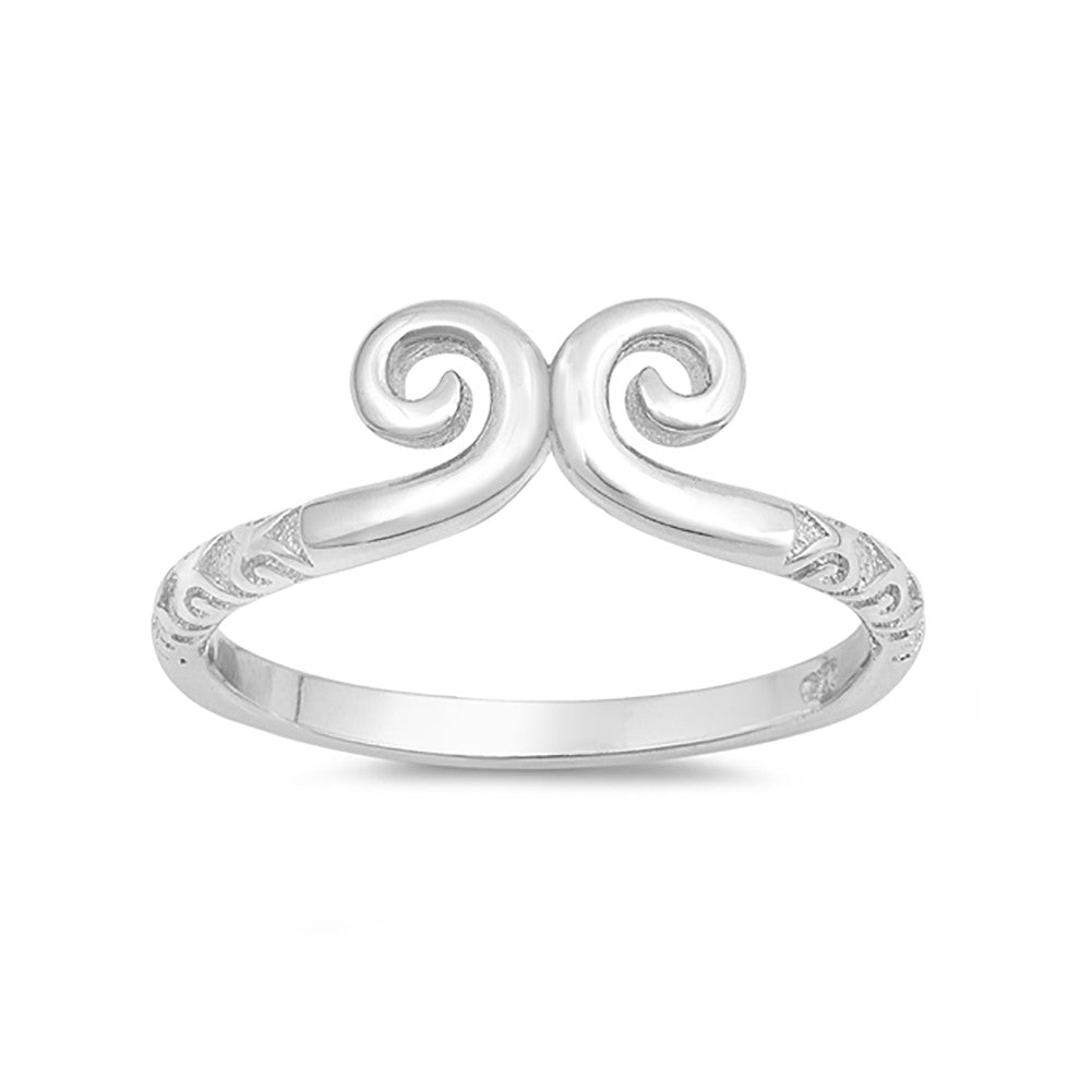 Fashion Swirl Band Ring 925 Sterling Silver Simple Plain - Blue Apple Jewelry