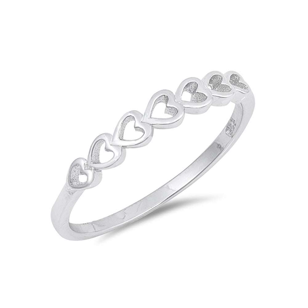 Sideways Heart Band Ring 925 Sterling Silver Simple Plain - Blue Apple Jewelry
