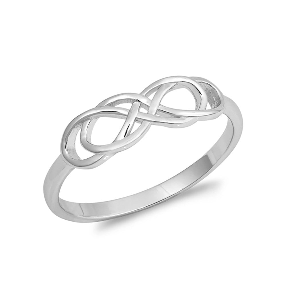 Twisted Infinity Band Ring Plain Simple 925 Sterling Silver - Blue Apple Jewelry