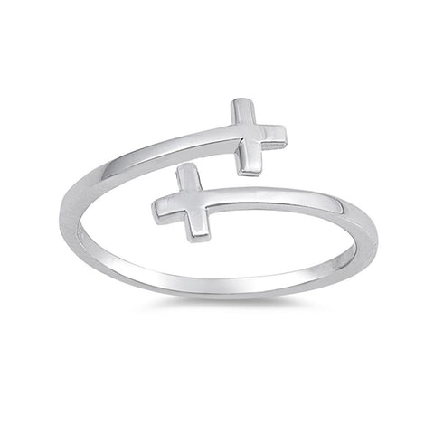 Bypass Wrap Sideways Cross Ring Band 925 Sterling Silver Choose Color