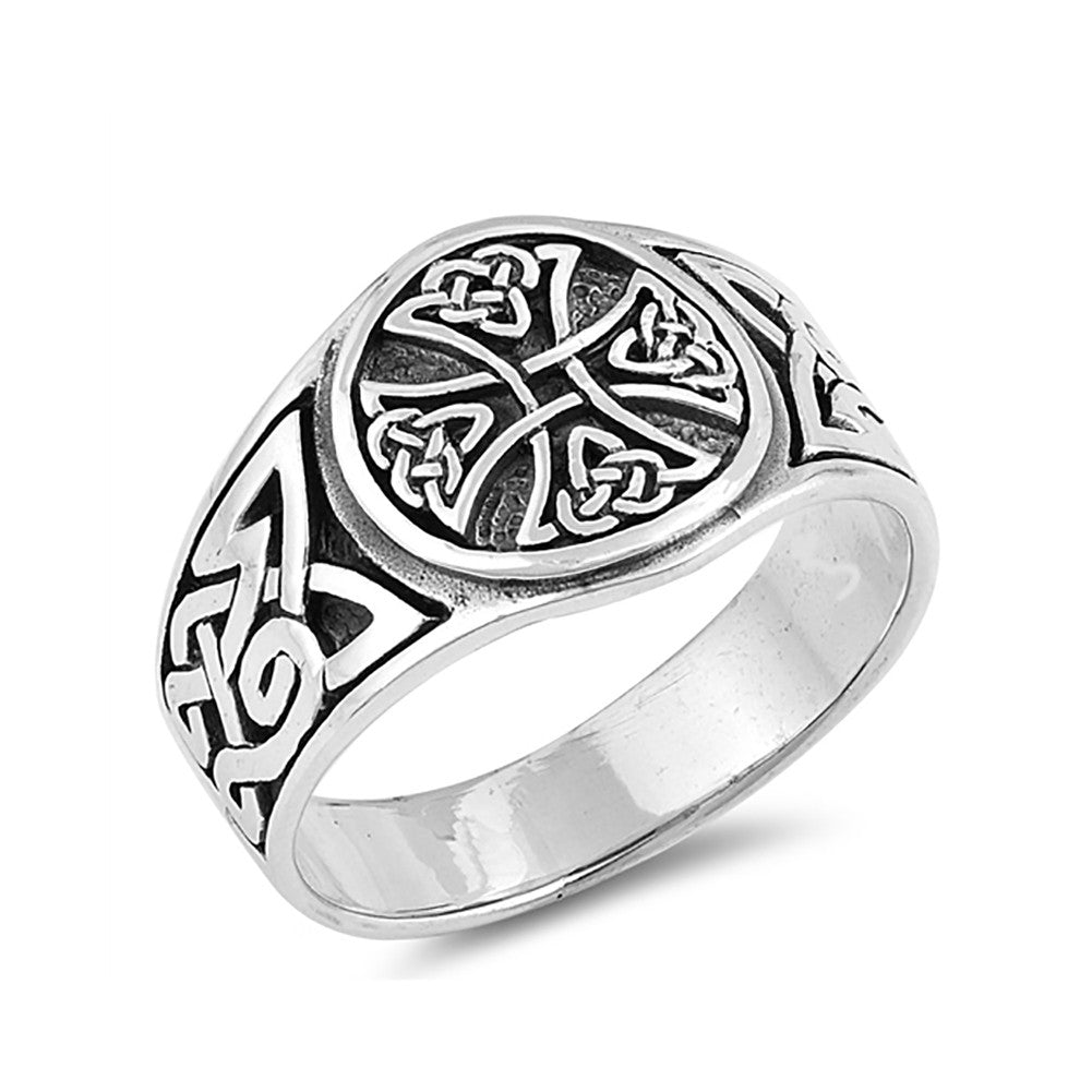 Celtic Ring Band 925 Sterling Silver Men Women Unisex Ring Simple Plain - Blue Apple Jewelry