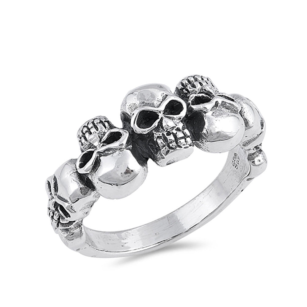 Skull Head Band Ring 925 Sterling Silver Skulls
