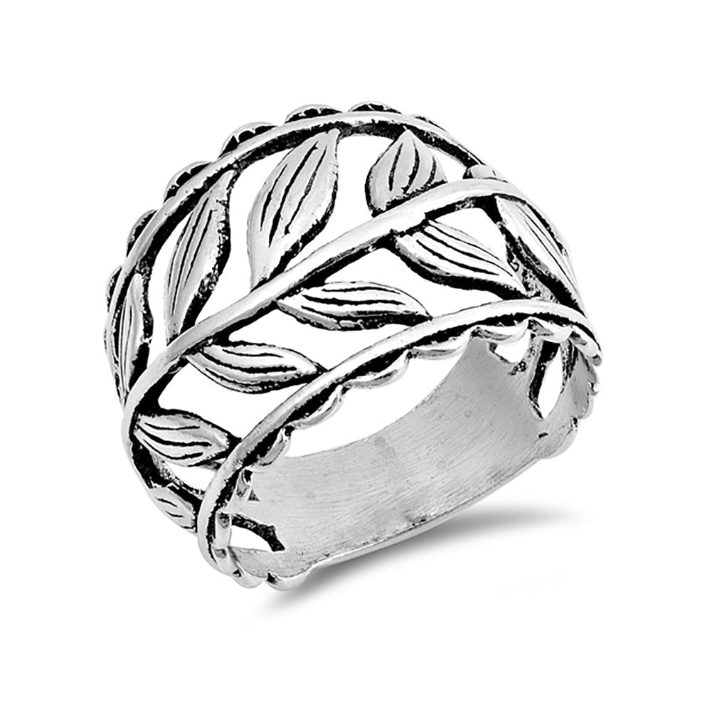 Leaf Ring 925 Sterling Silver Simple Plain Leaves