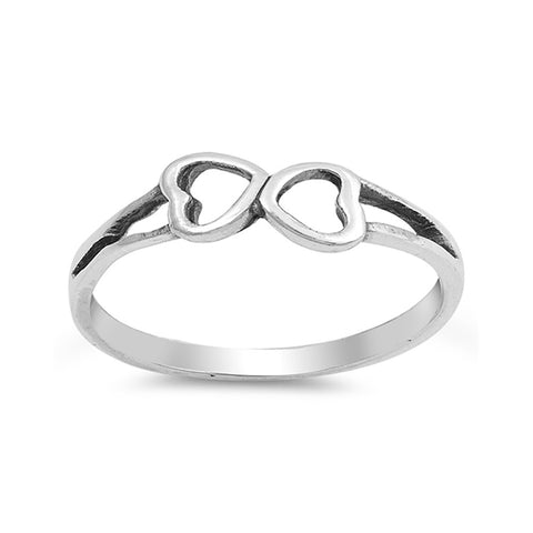 Heart Ring Band Double Heart Open 925 Sterling Silver Fashion Simple Plain