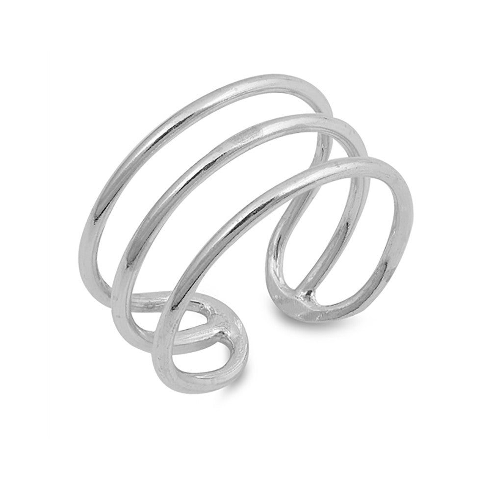 Triple Open Bar Ring Band 925 Sterling Silver Simple Plain - Blue Apple Jewelry