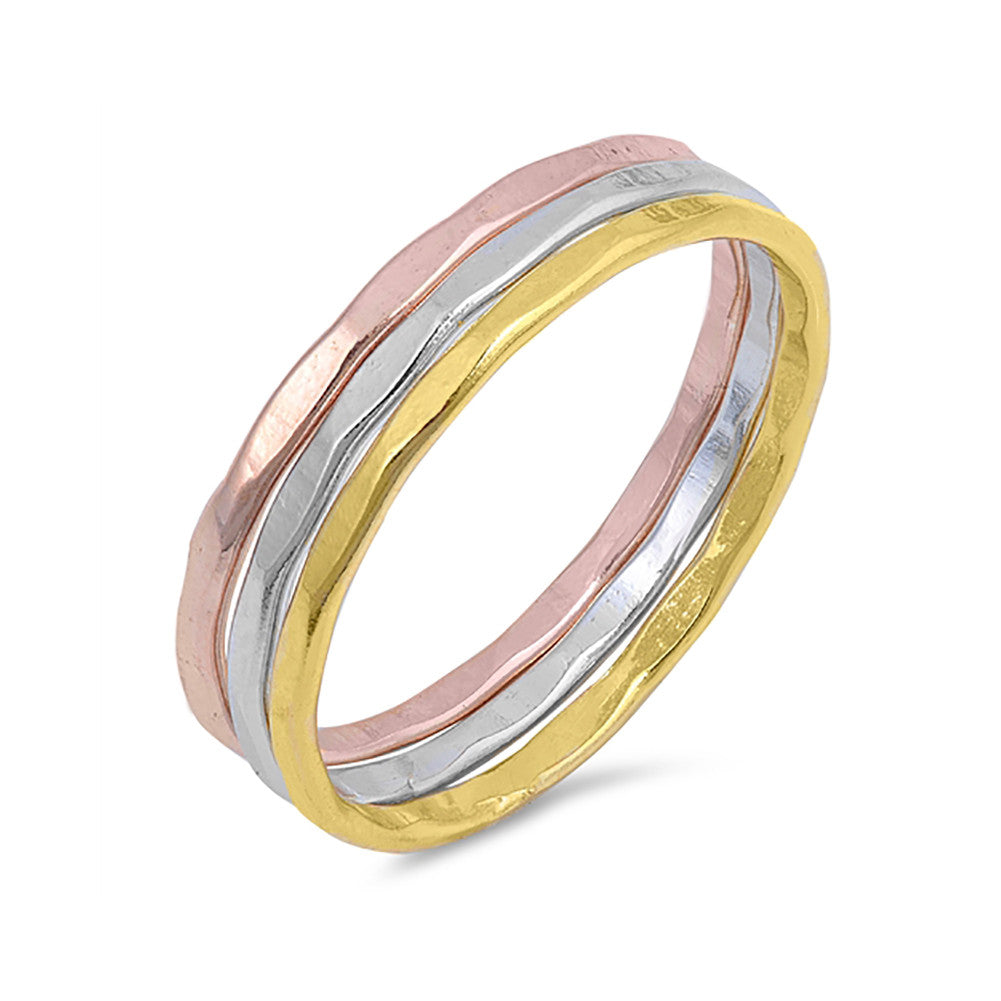 Hammered Finish Design Tricolor Tri-Tone 3 Band Ring 925 Sterling Silver - Blue Apple Jewelry