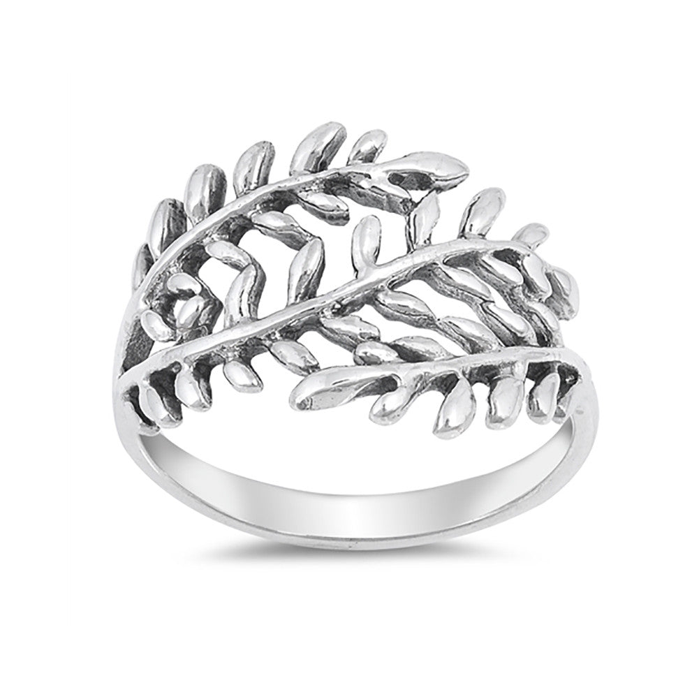 Leaf Ring 925 Sterling Silver Simple Plain Wraparound Leaf Band