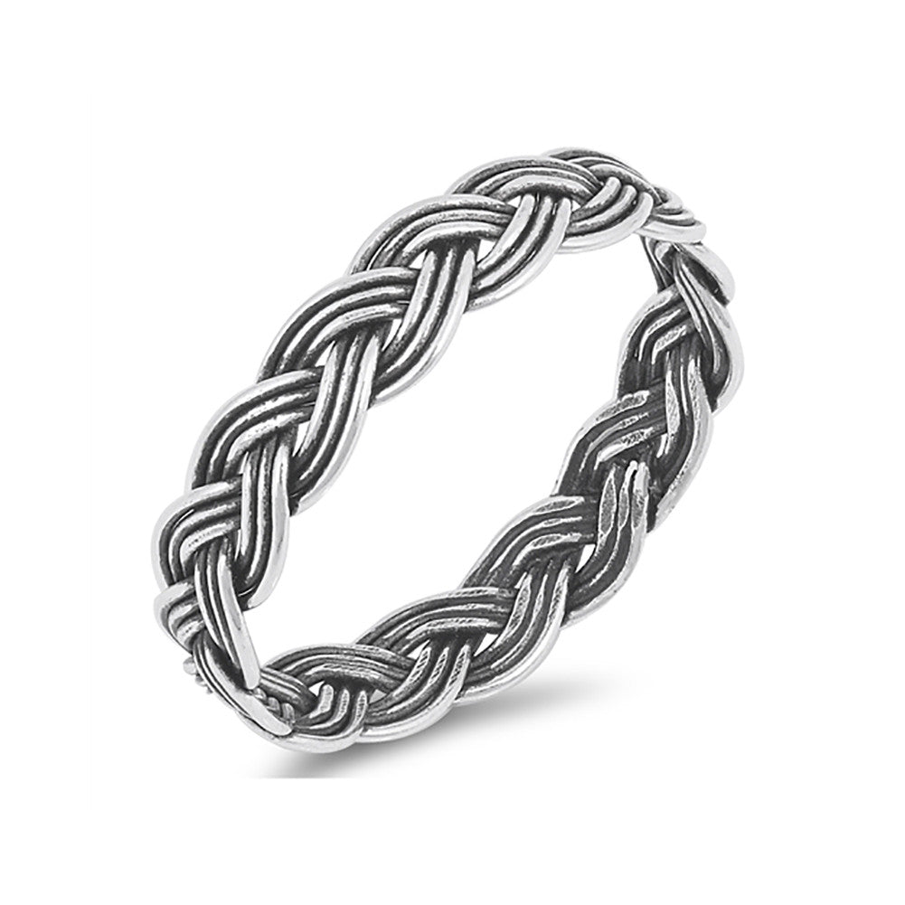 5mm Unisex His Hers Braided Twisted Wedding Band Ring Men Women 925 Sterling Silver - Blue Apple Jewelry