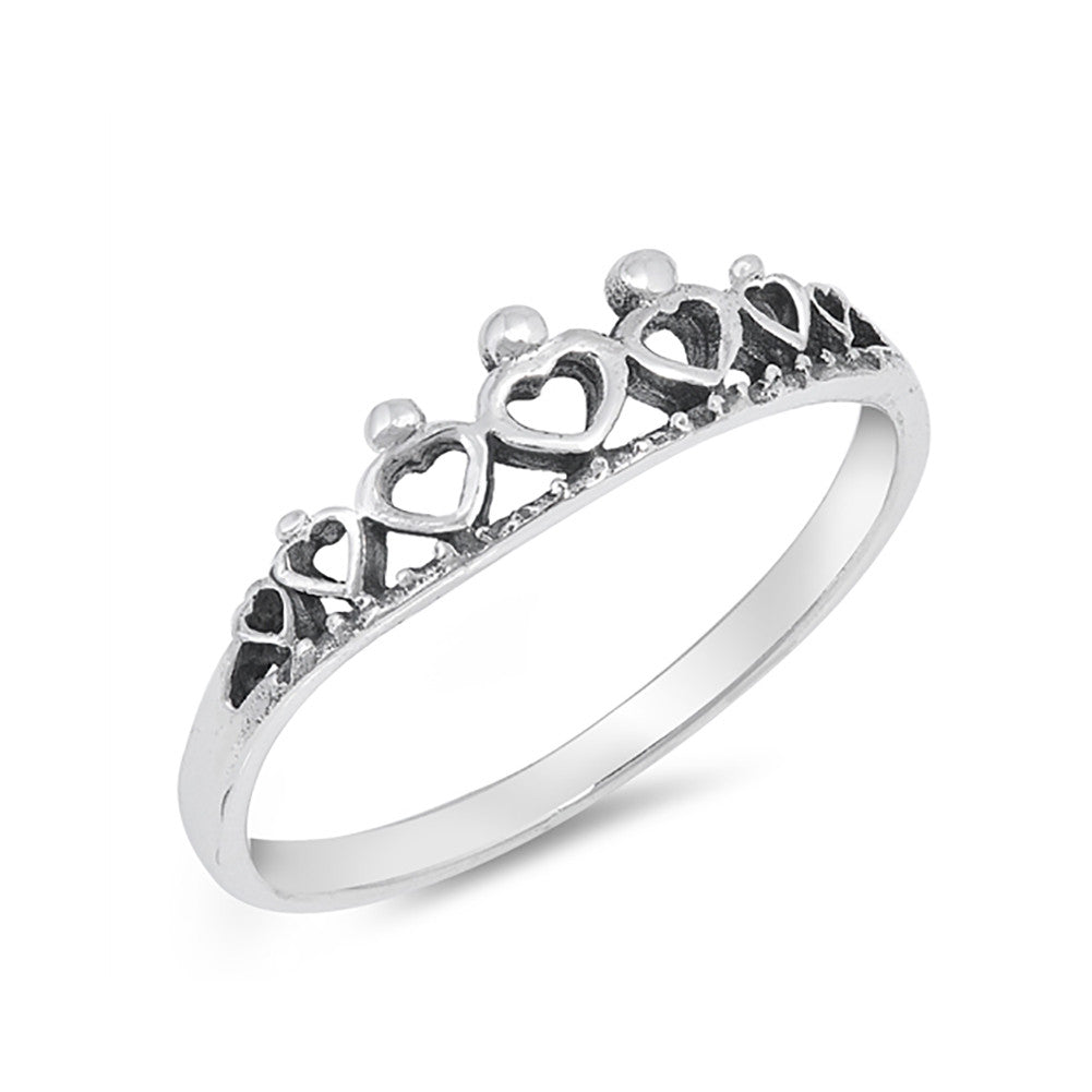 Crown Band Ring Heart Crown Simple Plain 925 Sterling Silver - Blue Apple Jewelry