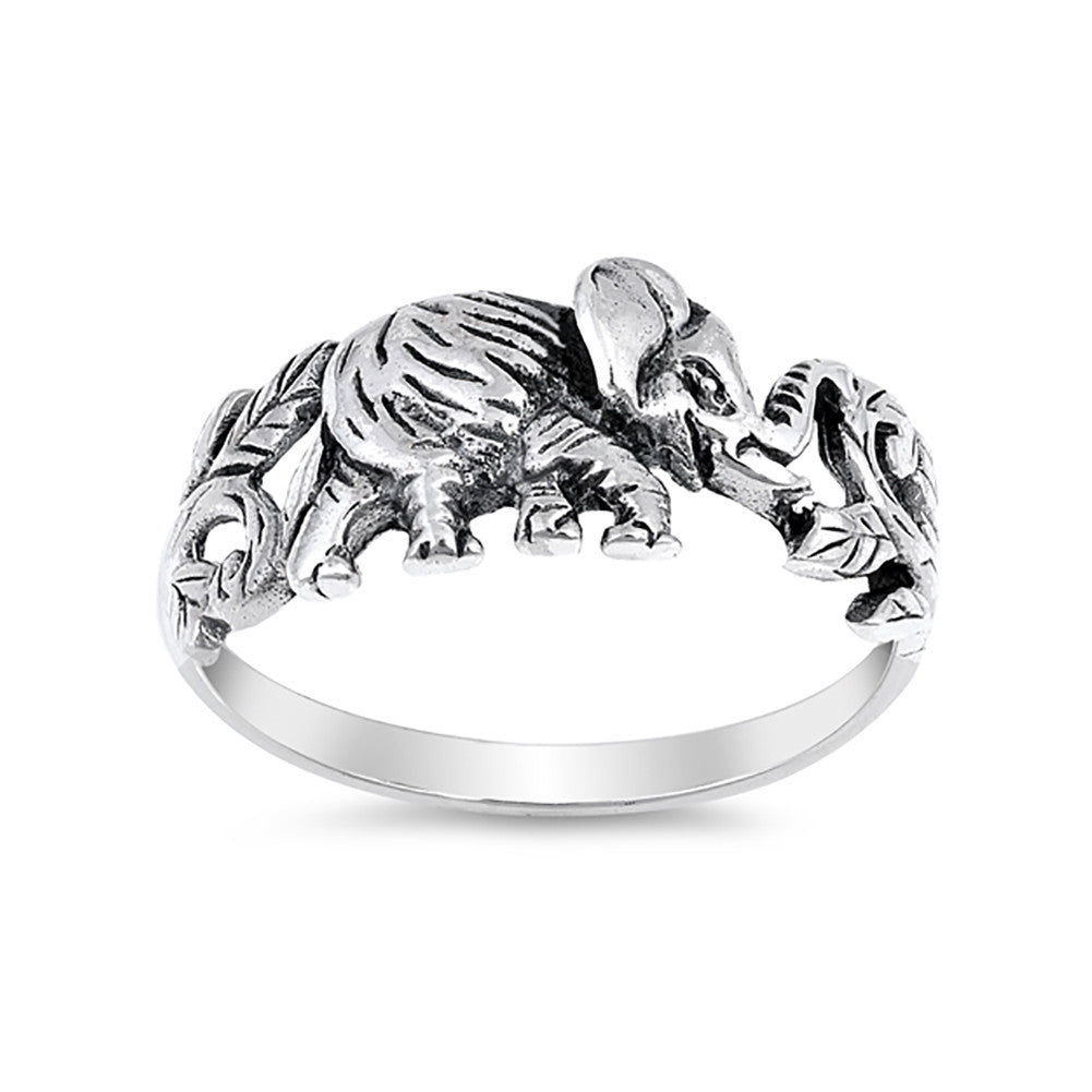 Elephant Band Ring 925 Sterling Silver Elephant Simple Plain - Blue Apple Jewelry