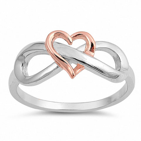 Heart Infinity Ring Band Two Tone 925 Sterling Silver Rose Tone Infinity Heart