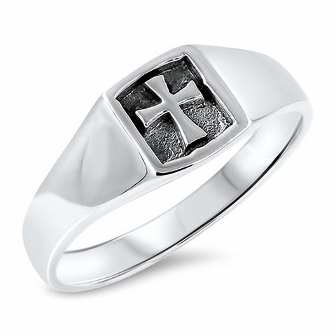 Cross Ring Band 925 Sterling Silver