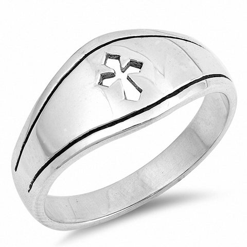 Medieval Cross Ring Band 925 Sterling Silver Open Cross
