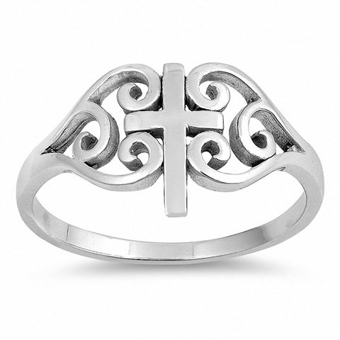 Filigree Cross Ring Band 925 Sterling Silver